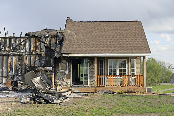 fire damaged house